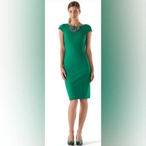 WHBM GREEN CAP SLEEVE SHEATH DRESS 4